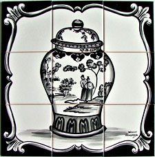 Tile Mural - Black and White Chinese Vase